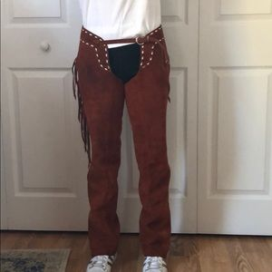 Vintage brown leather fringe CHAPS